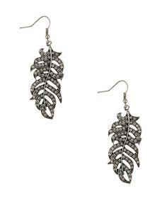 Rhinestone Feather Earrings |