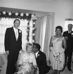 Frank Sinatra and Shirley Rhodes at Sammy Davis Jr.'s wedding to May Britt-1960