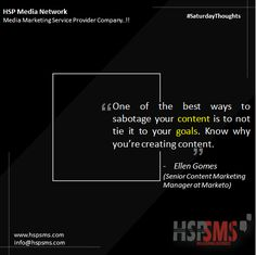 Don't just create content to create it. There needs to be a goal. What action do you want users to take after reading? With goals for your content, it's rather meaningless. HSP Media Network (Media Marketing Service Provider Company) #saturdayvibes #saturdaythoughts #marketingthoughts #thoughtsoftheDay #marketing #saturday #saturdaymotivational #bulksms #smsmarketing #marketingquote #hspsms #hspmedianetwork #content #goals #marketo #action Content Marketing, Media Marketing, Marketing Quotes, Management, Action, Goals, Messages, Thoughts, Motivation
