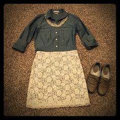 Cute crocheted lace skirt! This skirt is darling! Soft crocheted lace with a shimmery gray lining underneath make this skirt so feminine and spring time ready! Kimchi Blue Skirts Mini
