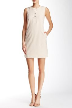 Sleeveless Snap Front Stitch Shift Dress by Marc New York on @nordstrom_rack