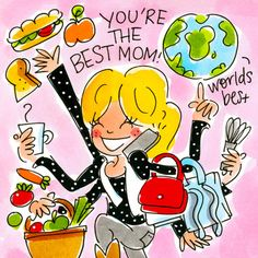 Kaart - Moederdagkaart You Re The Best Mom - Greetz Blond Amsterdam, Illustration Girl, You're Awesome, Best Mom, Doodles, Girly, Clip Art, Cartoon, Vader