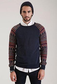 Geo-Patterned Crew Neck Sweater   21 MEN - 2000100824