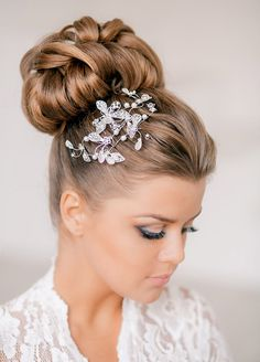 The ballerina bun goes bling for a modern twist. Wedding Hairstyles, Bridal Beauty