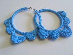 -crochet hoop earring, crochet earrings, blue crochet earrings, blue ...