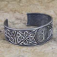 Britannia metal pewter bracelet cuff, hand cast in the U. by Oberon Design, offering a variety of bracelet styles. Tree of LIfe. Metal Bracelets, Cuff Bracelets, Diamond Bracelets, Bangles, Do It Yourself Jewelry, Metal Tree Wall Art, Celtic Art, Braided Leather, Fashion Bracelets