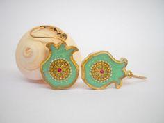 Mint Green Pomegranate earrings Dangle Sterling by hilawelner