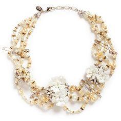 Erickson Beamon 'Winter Wonderland' Swarovski crystal glass pearl... found on Polyvore featuring jewelry, necklaces, metallic, white necklaces, pearl necklace, bib statement necklace, floral necklace and swarovski crystal necklace