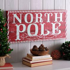 Distressed Red North Pole Wooden Sign | Kirklands