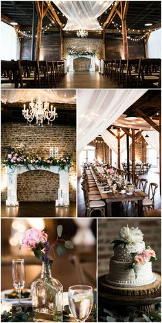 Exposed brick, wooden beams, draped white fabric, twinkling lights, chandelier, pink flowers, rustic romance // Nyk + Cali