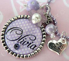 Personalized Purple Polka Dot LITTLE SISTER by onceuponasugartree