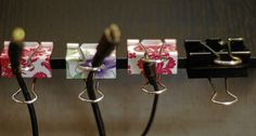 Binder Clips for Cord Organization   11 Dorm Room Hacks to Keep You Organized This Year   http://www.hercampus.com/diy/decorating/11-dorm-room-hacks-keep-you-organized-year