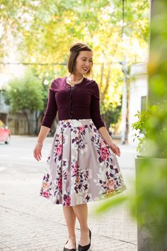 Review Australia floral midi skirt and cropped cardigan