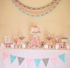 Small pink suitcases for cake table centerpiece...too cute!!