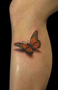 Side Leg 3D Monarch Butterfly Tattoo