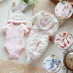 Aliexpress.com: Compre 2014 verão roupas de bebê recém nascido geral menina / menino romper 4 pcs set ( 2 pcs romper + chapéu Bib ) de confiança notícias bib fornecedores em Wholesale & retail fashion store.