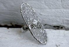 Large Amazing Vintage Filigree 14K White Gold Diamond by GoldAdore