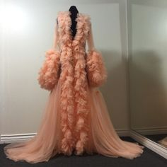 Image of Sheer Peach Ruffled Dressing Gown (pre-order!)