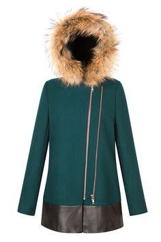 Sandro Manoli Fur Hooded Green Coat, $945, available at Sandro.