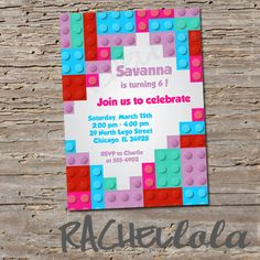 Lego Friends invitation printable digital print by Rachellola