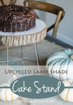 Find a new use for an old outdated lamp shade with this Upcycled Lamp Shade Cake Stand!  Get the full tutorial!