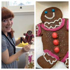 Laura W excited to display her gingerbread creation