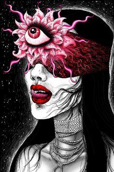 Third Eye Art Print by Vivian Volcano - X-Small Arte Horror, Horror Art, Trippy Drawings, Realistic Drawings, Psychedelic Art, Fantasy Drawings, Fantasy Art, Dark Art Drawings, Tattoo Grafik