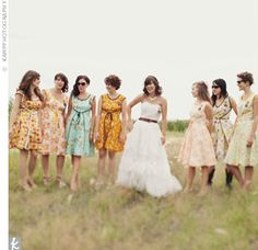 As a group, the girls decided on a vintage sewing pattern that everyone liked and created the bridesmaid dresses. They tweaked details such as the skirt length and hemline to flatter each girl. Whatever extra fabric was left over was used to create fabric buntings and placemats for the wedding.