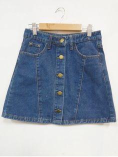 SHARE & Get it FREE | High Waist Buttoned Back Pocket A-Line SkirtFor…