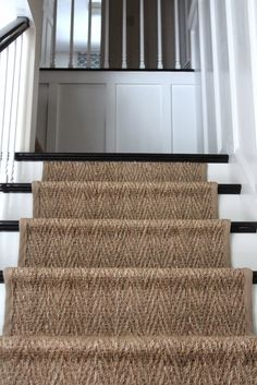 sisal stair runner on basement stairs Sisal Stair Runner, Staircase Runner, Stair Runners, Staircase Ideas, Modern Staircase, Stair Rods, Painted Stairs, Coastal Living Rooms, Basement Stairs