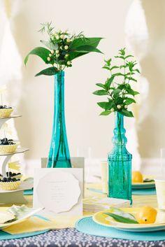 Bright Blue Vases + Garden Herb Leaves - Summer Brunch #LetsCelebrate