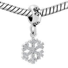 Amazon.com: Christmas Snowflake Dangling Charm Sale Cheap Jewelry Beads Fit Pandora Charms Bracelet Gift: Jewelry