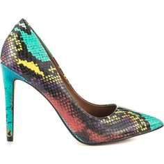 Steve Madden Women's Proto - Multi Snake ($95) ❤ liked on Polyvore featuring shoes, multi colored high heel shoes, snakeskin print shoes, colorful shoes, steve madden footwear and multi colored shoes