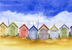 Sothwold Beach Huts Watercoulour Painting by Peter Bowen