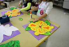 3rd Grade Georgia O'Keeffe Flower - background construction paper