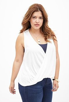 Draped Surplice Knit Top   FOREVER21 PLUS - 2000120538  Love this with some muddy brown leather boots.
