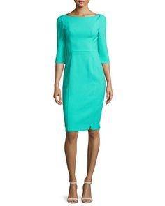 3/4-Sleeve+Sheath+Dress,+Mint+Sorbet+by+Black+Halo+at+Neiman+Marcus.
