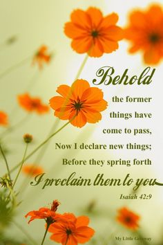 Isaiah 42:9 ~ Behold the former things have come to pass, now I declare new thing; I proclaim them to you...