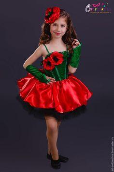 Купить Костюм мака - ярко-красный, мак, костюм мака, костюмы цветов, карнавальные костюмы