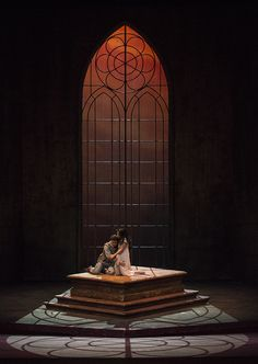 Romeo y Julieta.Looks like characters acting out their story within framework of church thinking, and on top of a book - genre-aware theatre design. Stage Set Design, Set Design Theatre, Alvin Ailey, Ballet Bolshoi, Images Esthétiques, Romeo Y Julieta, Shakespeare, Theatre Stage, Scenic Design