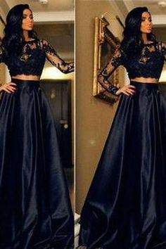 Navy Blue Lace Spliced Long Sleeves A-line Prom Dresses 2017
