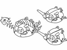 Angry birds epic coloring page - pirate pigs