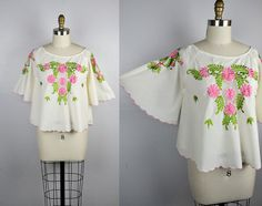 Peasant Blouse  Embroidered Blouse  Floral by ItaLaVintage on Etsy