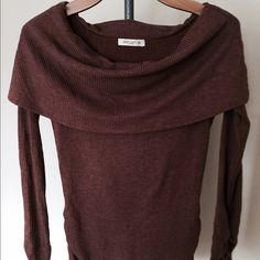 Sweater top, ruched sleeves and hem, never worn Sweater top, cocoa brown color Arden B Sweaters Cowl & Turtlenecks
