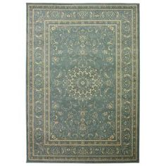 Queen Collection Oriental Medallion Teal and Beige 7 ft. 10 in. x 9 ft. 10 in. Area Rug QNN2776-8X10 at The Home Depot - Mobile