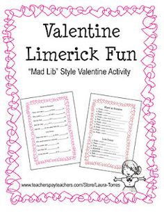 Valentine Limerick Fun  Grades 3 and up...FREE!
