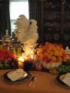 Rooster, candles & flowers