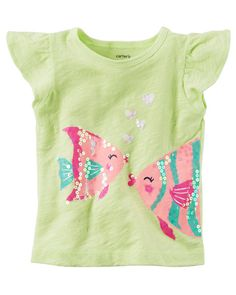 Baby Girl Flutter-Sleeve Sequin Fish Tee from Carters.com. Shop clothing & accessories from a trusted name in kids, toddlers, and baby clothes.