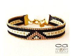 Bead loom bracelet Romantic Night - friendship bracelet, beaded bracelet, miyuki bracelet, bead bracelet Stylish, made of Miyuki beads in Bead Loom Designs, Bead Loom Patterns, Jewelry Patterns, Bracelet Patterns, Seed Bead Jewelry, Beaded Jewelry, Armband Tutorial, Bead Loom Bracelets, Diy Bracelet