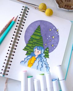 With the right tools in their arsenal, anyone can paint up inspiration and create truly amazing artwork. Ohuhu Markers, Bujo Inspiration, Winter Drawings, Palette, Winter Night, Marker Art, Night Skies, Cool Artwork, Winter Wonderland